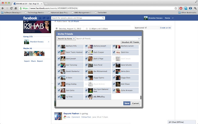 Facebook select all friends